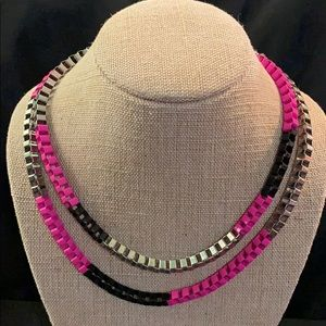 Sassy Pink -Black -Silver Necklace